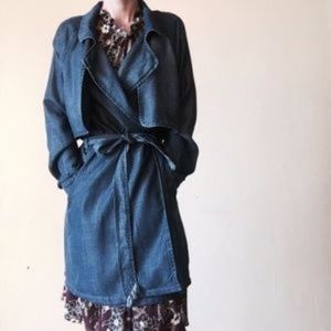 ANTHROPOLOGIE Cloth & Stone Blue Chambray Trench